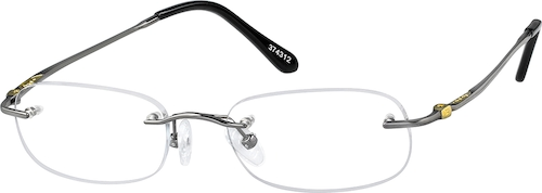 Gray Titanium Rimless Glasses