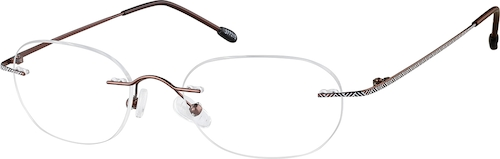 Brown Titanium Rimless Glasses
