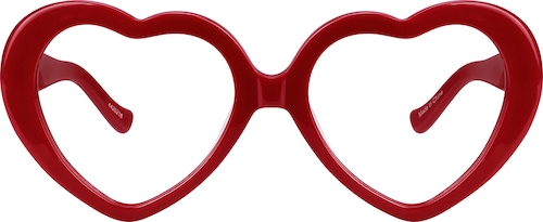 Red Heart-Shaped Glasses