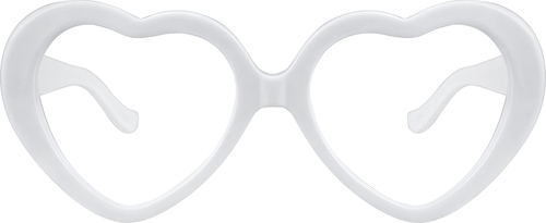 White Heart-Shaped Glasses