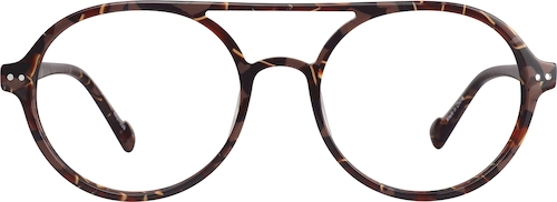 Brown Pattern Round Glasses