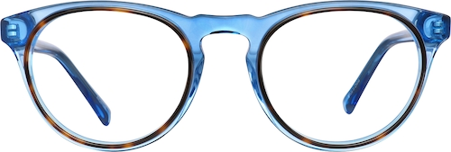 Aqua Blue Round Glasses