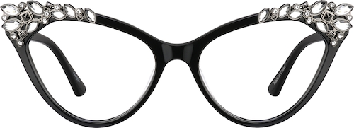 Jet Black Cat-Eye Glasses