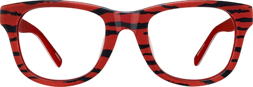 Red Tiger Square Glasses