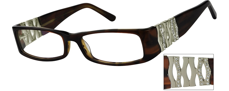 Brown Full Rim Acetate Frames with Design on Temples #447015