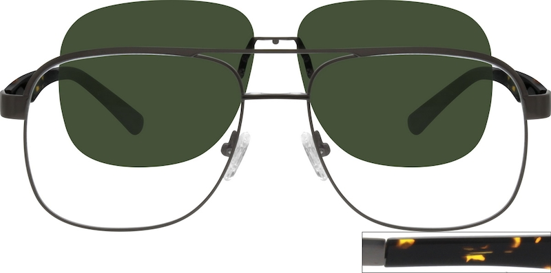 9053756cb4 Stainless Steel Full-Rim Frame with Polarized Magnetic Snap-on Sunlens  541712