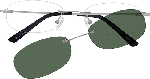 0bdb0b36ae6f Silver Rimless Metal Alloy Frame with Polarized Magnetic Snap-on ...