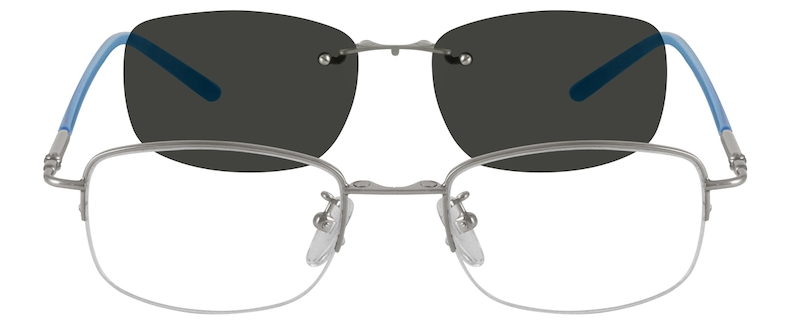 114e047668 Metal Alloy Half Rim Frame with Polarized Magnetic Snap-on Sunlens 583611