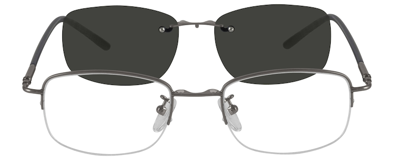 bdf6280261611 Metal Alloy Half Rim Frame with Polarized Magnetic Snap-on Sunlens 583611