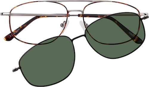 Tortoiseshell Aviator Magnetic Snap-On Set