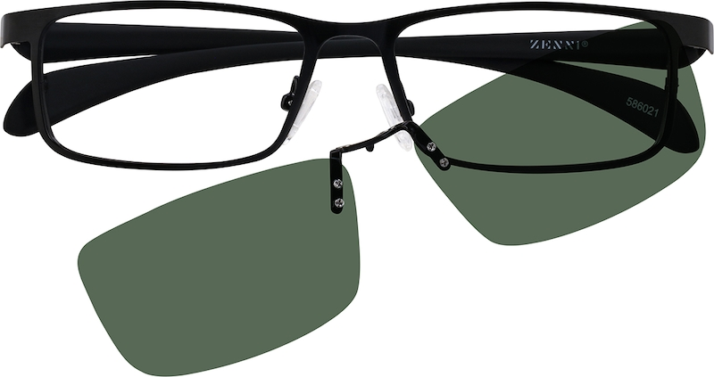 Black Stainless Steel Full-Rim Frame with Polarized Magnetic Snap-on ...