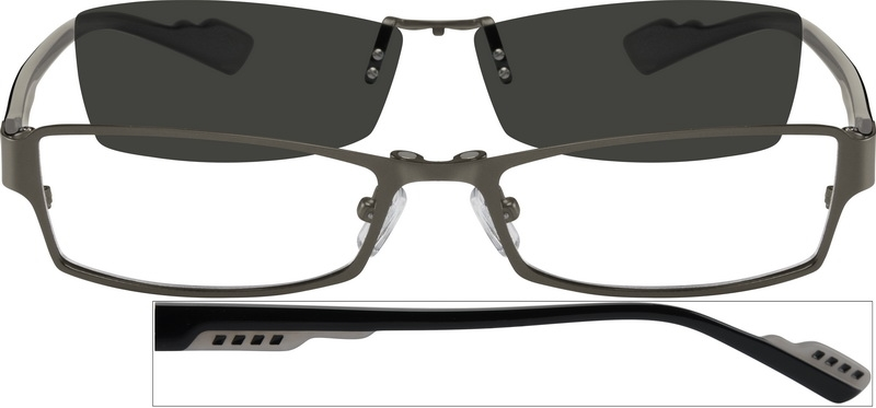 9b853cd202 Stainless Steel Full-Rim Frame with Polarized Magnetic Snap-on Sunlens and  Designer Acetate Temples 587512