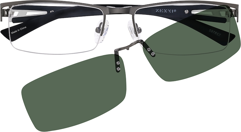 99476ad5c6 Stainless Steel Half Rim Frame with Polarized Magnetic Snap-on Sunlens and  Designer Plastic Temples 587812