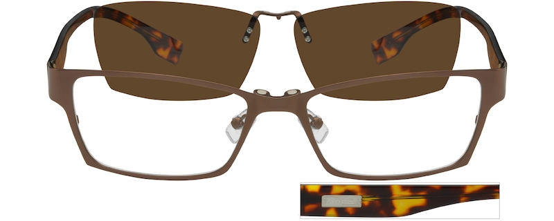 9b049f2a1a Stainless Steel Full-Rim Frame with Polarized Magnetic Snap-on Sunlens and  Acetate Temples 588715
