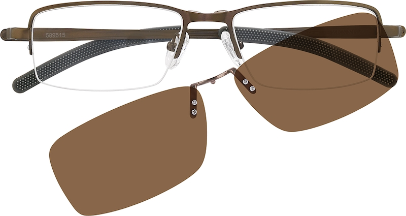2e40193bca Stainless Steel Half-Rim Frame with Polarized Magnetic Snap-on Sunlens  589515