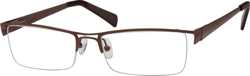 6d2f555550 Brown Stainless Steel Half Rim Frame With Double Bar Bridge 599715. Lantis  Optical Eyegles L8013
