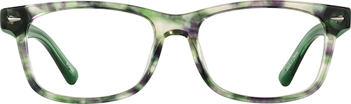 Green Tortoisehell Rectangle Glasses