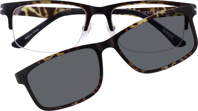 45614afee61 Tortoiseshell Rectangle Glasses with Magnetic Snap-On Shades  640425