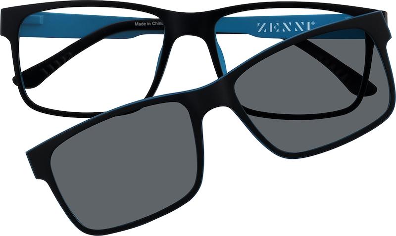 0f1c0b6db673 Black Square Eyeglasses with Magnetic Snap-On Shades  6499221