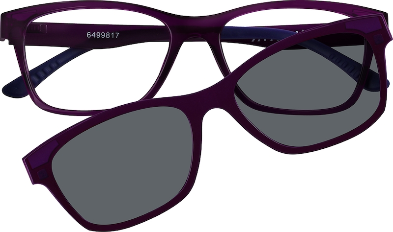 462044fd5fccf Purple Cat-Eye Eyeglasses with Magnetic Snap-On Shades  6499817