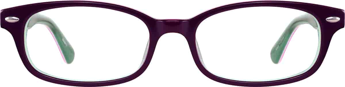 Eggplant Kids' Rectangle Glasses