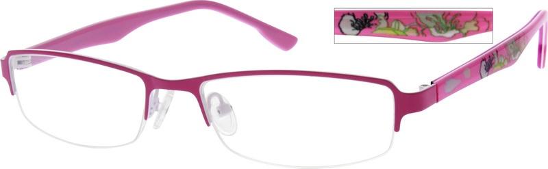 178e75270e096 Stainless Steel Half-Rim Frame with Acetate Temples 768219. 360 icon.  sku-768217 eyeglasses angle view. sku-768219 eyeglasses angle view