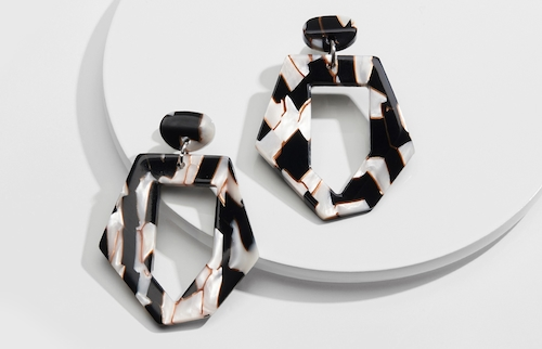 Zebra Acetate Drop Earrings